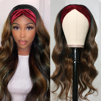 Klaiyi Dark Roots Highlight Body Wave Glueless Headband Wigs #1B/30 Ombre Color Human Hair Wigs 150% Density