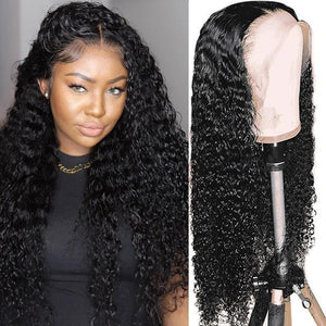 Klaiyi Best 13*4 Transparent Lace Front Wigs Jerry Curly Human Hair Wigs From 130% to 180% Density
