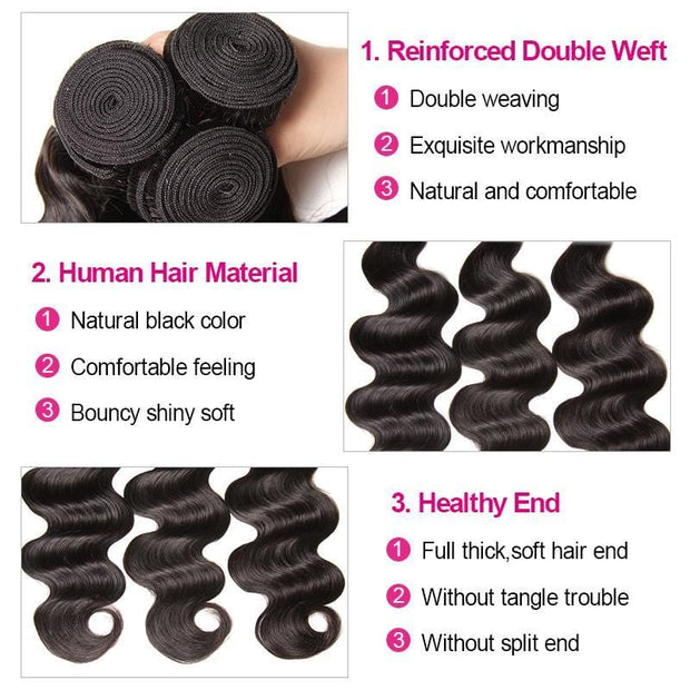 Klaiyi Youth Series Brazilian Body Wave Virgin Human Hair Weaving 3 Bundles/Pack