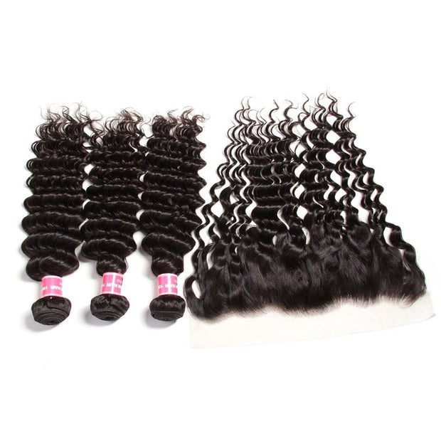 Brazilian Deep Wave 3 Bundles with Lace Frontal Closure, 13*4 Ear to Ear, 100% Virgin Hair-Klaiyi