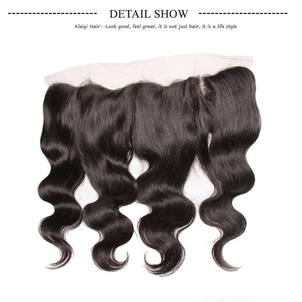 Klaiyi Brazilian Virgin Body Wave Hair 3 Bundles With Lace Frontal Hair Closure