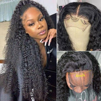 Klaiyi Jerry Curly 4x4 Lace Closure Wigs Remy Human Hair Lace Wigs 150% to 180% Density Youth Series