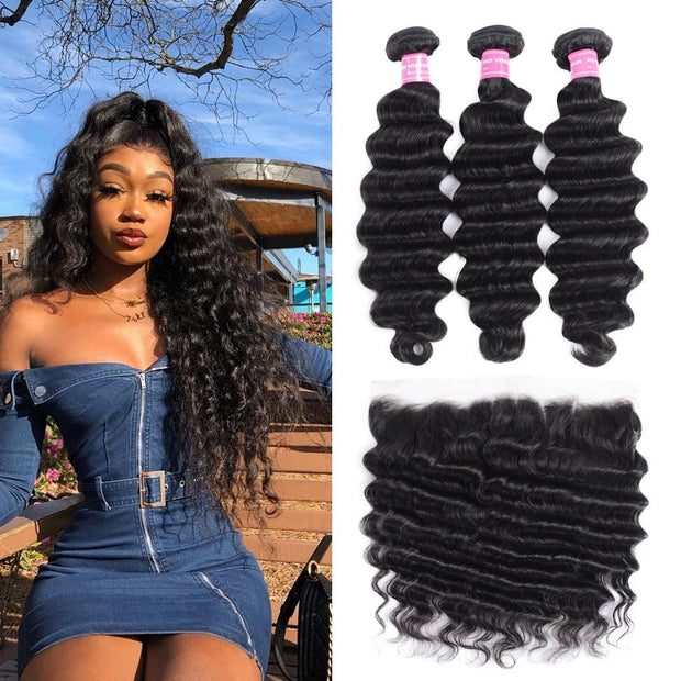 Brazilian Loose Deep Wave 3 Bundles with Lace Frontal Closure, 13*4 Ear to Ear, 100% Virgin Hair-Klaiyi