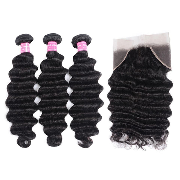 Indian Loose Deep Wave 3 Bundles with Frontal Closure on deals