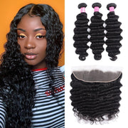Loose Deep Wave Malaysian Virgin Hair 3 Bundles with 13*4 Ear to Ear Lace Closure