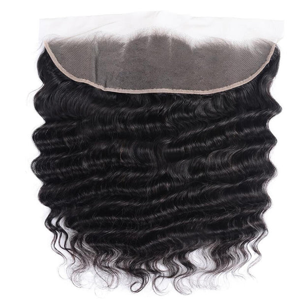 Virgin Peruvian Loose Deep Wave 3 Pieces with Frontal Closure, 13*4 Ear to Ear