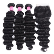 Indian Loose Deep Wave 3 Bundles with 4*4 Lace Closure On Deals