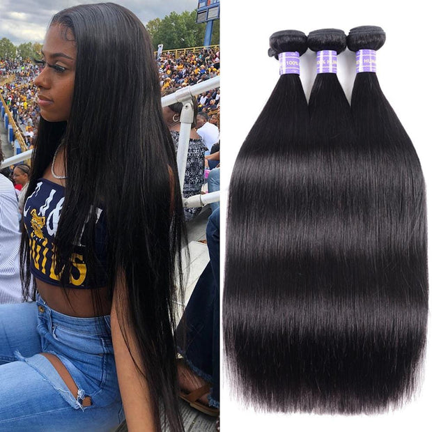 Klaiyi Remy Hair Brazilian Straight 3 Bundles/Pack Human Hair Weaves Youth Series