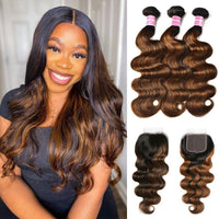 Klaiyi Balayage Hair Color 3 Bundles with Lace Closure Pre Plucked Free Part Highlights Ombre Hair Bundles Body Wave