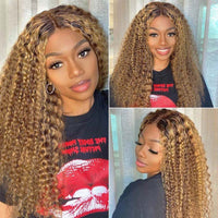 Klaiyi Honey Blonde Lace Frontal Wig Pre Plucked Deep Wave TL430 Ombre Human Hair Lace Wigs