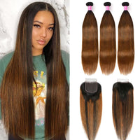 Klaiyi Ombre Balayage Highlights Lace Closure with 3 Bundles Bone Straight Virgin Human Hair Weave with Closure Free Part