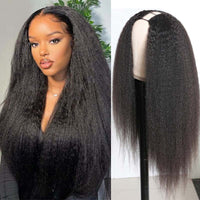 Klaiyi U Part Wig Kinky Straight Human Hair Wigs Natural Looking Quick and Easy Install