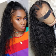 Klaiyi 9A Pre Made Invisible Fake Scalp Curly Wig 13*4 Deep Parting Curly Lace Front Wigs 150% Density
