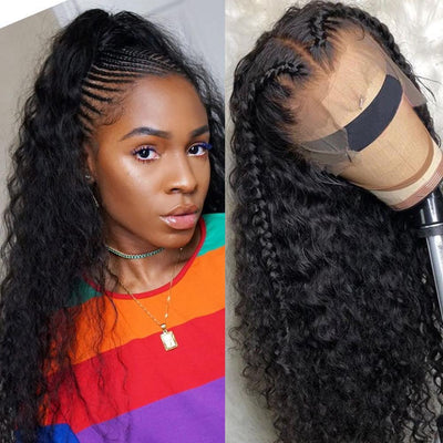 Klaiyi 9A Pre Made Invisable Fake Scalp Curly Wig , 13x6 Deep Parting Curly Lace Front Wig 150% Density