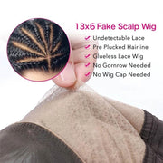 Klaiyi 9A Undetectable Glueless Fake Scalp Brazilian Body Wave Lace Wig, Preplucked Invisible 13*4 Lace Frontal Wig Human Hair