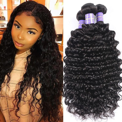Klaiyi Remy Hair Brazilian Deep Wave Hair Bundles 3pcs/lot, Human Virgin Hair Weaves Youth Series