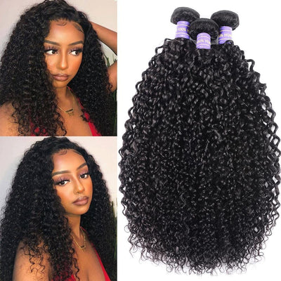Klaiyi Remy Hair Brazilian Curly Hair Virgin Human Hair Weaves 3 Bundles/Pack Youth Series