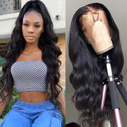 Klaiyi Premade 13*4 Fake Scalp Brazilian Body Wave Lace Wig Preplucked Invisible Glueless  Lace Frontal Wig 100% Human Hair