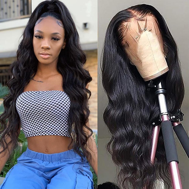 Klaiyi 9A Premade 13*6 Fake Scalp Brazilian Body Wave Lace Wig, Preplucked Invisible Glueless  Lace Frontal Wig 100% Human Hair