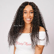 Klaiyi Brazilian Curly Hair 13x4 Lace Frontal Closure Natural Color
