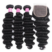 Klaiyi Peruvian Loose Deep Wave Curly Hair 3 Bundles with 4*4 Lace Closure On Sale