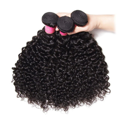 Klaiyi 3 Bundles Brazilian Virgin Curly Human Hair Weft Deals, Jerry Curly