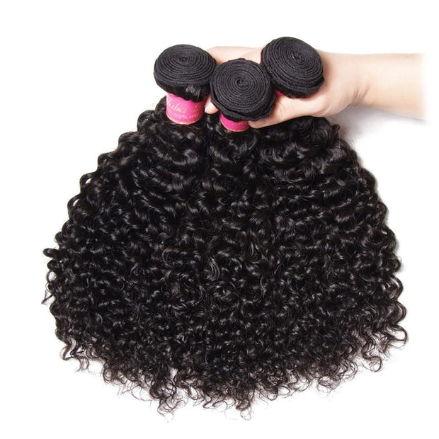 Klaiyi Malaysian Curly Hair 3 Bundles with Ear to Ear 13*4 Lace Frontal Closure