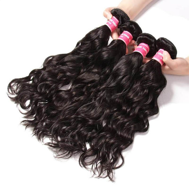 Malaysian Natural Wave 4 Bundles with 13*4 Ear to Ear Lace Frontal Closure Deals