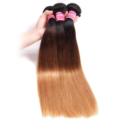 Klaiyi Ombre Straight Human Hair 3 Bundles #1B/4/27 Color