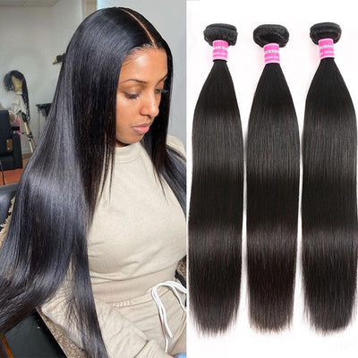 Klaiyi 3 Bundles Straight Human Hair Bundles 100% Virgin Human Hair Weaves