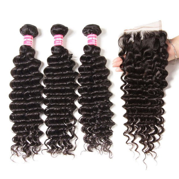 Indian Deep Wave 3 Bundles with 4*4 Lace Closure Deals-Klaiyi Hair