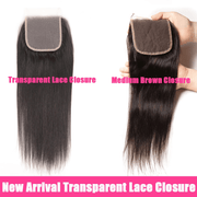 Brazilian Straight Hair 3 Bundles with 5*5 Transparent Lace Closure