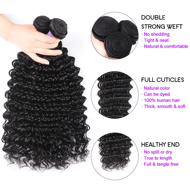Klaiyi Youth Series Brazilian Deep Wave Hair Bundles 3pcs/lot, Human Virgin Hair Weaves