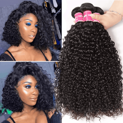 3 Bundles Peruvian Jerry Curly Virgin Human Hair Weave Natural Color-Klaiyi Hair