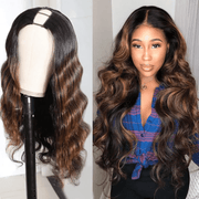 Klaiyi U Part Body Wave Wig Human Hair Wigs Dark Auburn 100% Human Hair Super Soft