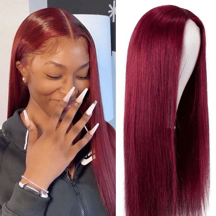 FLASH SALE for 99J Burgundy Lace Closure Part Wig 150% Density From $96.99, Hurry!