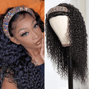 Klaiyi Flash Deal Headband Wig Curly Human Hair Wig With Free Scarf Natural Color Wig For Black Women