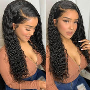 Klaiyi 9A Fake Scalp Curly Wigs , 13x4 Invisible Glueless Permade Curly Lace Front Wig 150% Density