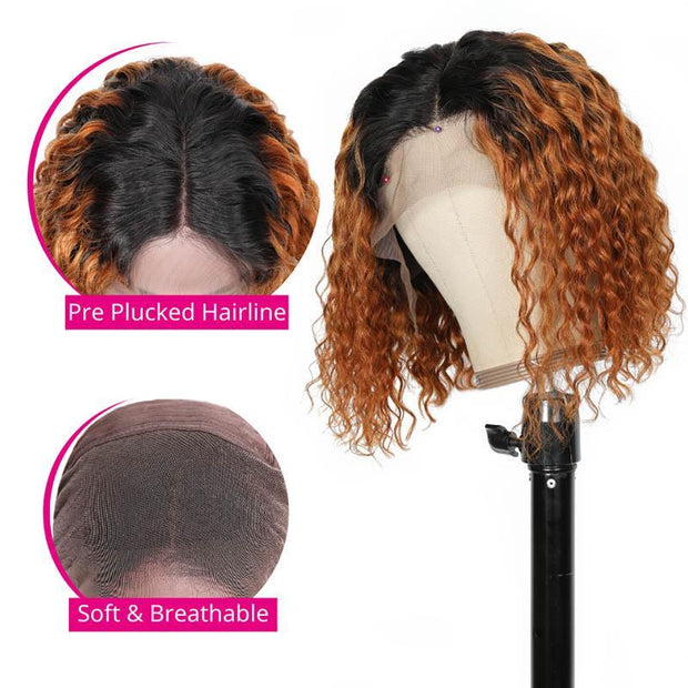 Ombre Color Ginger Curly Bob Human Hair Wigs Preplucked Short Curly Lace Front Wigs With Baby Hair