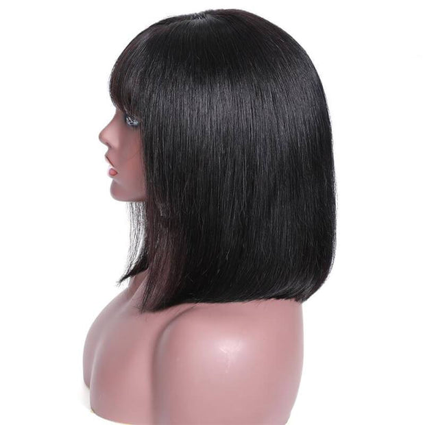Klaiyi Hair 9A 150%/180% Silky Straight Bob Hair Wig with Bangs, 13*4 Lace Front Human Hair Wigs