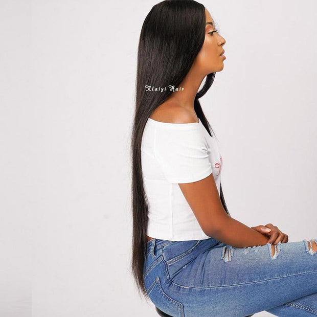 Brazilian Straight Hair 3 Bundles with 4*4 Lace Closure
