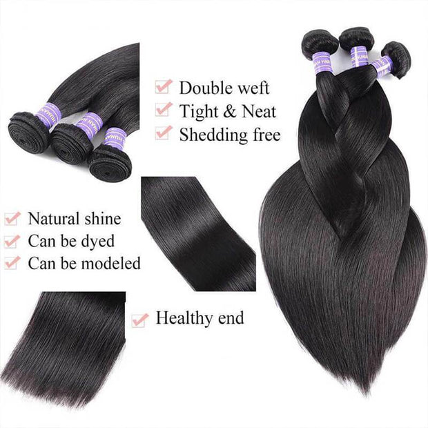 Klaiyi Remy Hair Brazilian 100% Human Hair Straight Hair 3 Bundles with 4*4 Lace Closure Youth Series