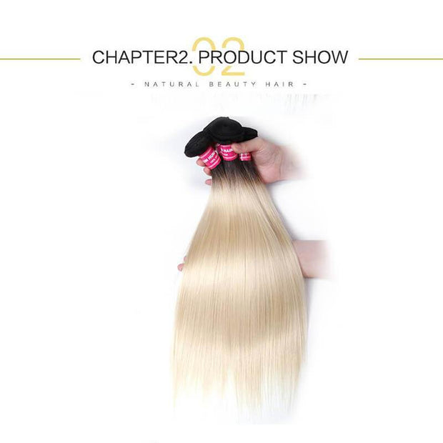 4 Bundles Straight Ombre Hair Weave 1b/613, 2 Tone Color Ombre Human Hair Extensions