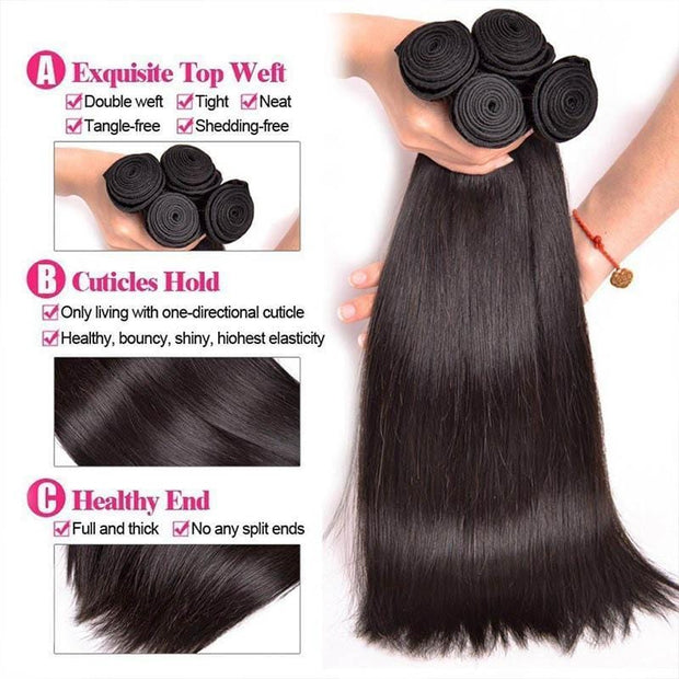 3 Bundles Brazilian Straight Virgin Human Hair, 100% Unprocessed 8A Virgin Human Hair Extension-Klaiyi Hair