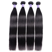Klaiyi Youth Series Brazilian Straight Hair 4 Bundles with 4*4 Lace Closure