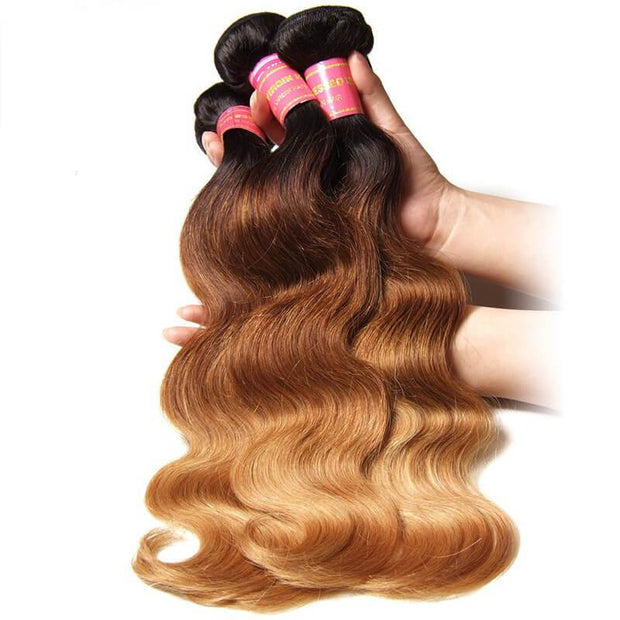 Klaiyi Malaysian 3 Tone Ombré Body Wave Human Hair 4Bundles/lot