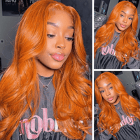 Klaiyi Ginger Orange Colored Body Wave Human Hair Lace Wigs Cinnamon Fall Color Wigs Pre Plucked With Baby Hair