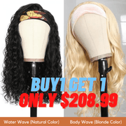 Flash Sale: Buy 1 Get 1 Free Headband Wigs Water Wave And Blonde Body Wave Headband Wig Bulk Sale With Gifts