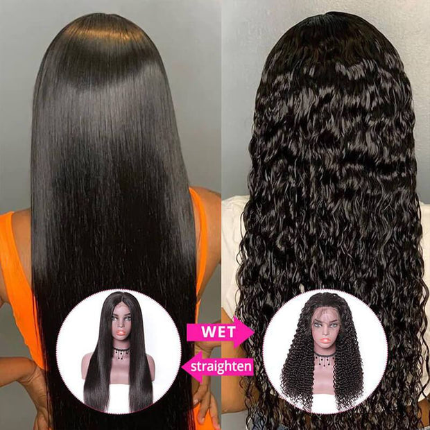 Klaiyi Wet And Wavy Wigs Deep Wave Pre Plucked 13*4 Lace Front Wigs
