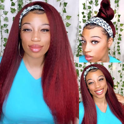 Klaiyi 1B99J Burgundy Color Natural Yaki Straight Headband Wigs Black Root Glueless Human Hair Wigs